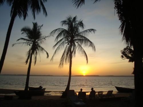 marowijne zonsondergang strand